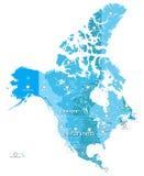 Hög detaljerad Nordamerika tidszonöversikt Alla beståndsdelar avskilde i fristående och märkta lager royaltyfri illustrationer