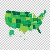 Hög detaljerad USA översikt med förbundsstater Vektorillustration U Arkivbilder