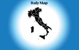 Hög detaljerad vektoröversikt - Italien, politisk region, svart design, lägenhet, vit karaktärsteckning, isolerad kontur, kängafo stock illustrationer