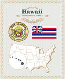 Hög detaljerad vektoruppsättning med flaggan, vapensköld, översikt av Hawaii Amerikansk affisch greeting lyckligt nytt år för 200 Royaltyfria Bilder