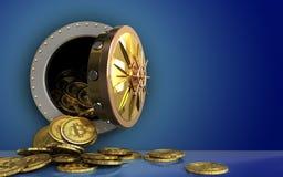 hög för bitcoins 3d över blått Arkivbild