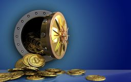 hög för bitcoins 3d över blått Royaltyfri Bild