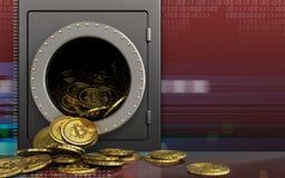 hög för bitcoins 3d över digitalt rött Royaltyfri Foto