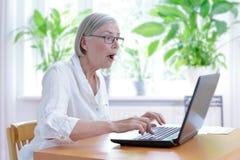 Hög förvånad kvinnabärbar datorchock royaltyfri bild