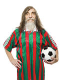 Hög fotbollsportaktivitet Gamal manfotbollsfan Arkivbild