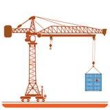 Hög-höjd kran med en vektor för behållarebakgrundsabstrakt begrepp Royaltyfri Fotografi