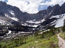 Hög höjdtrail, glaciärnationalpark Royaltyfria Foton