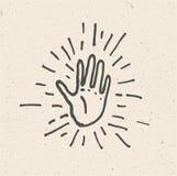 Hög hand fem Minimalist hand dragen vektorillustration Hög symbol fem vektor illustrationer