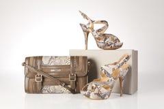 Hög-heeled kängor och läderhandväska Arkivfoton