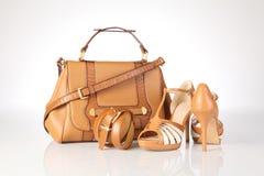 Hög-heeled kängor och läderhandväska Fotografering för Bildbyråer