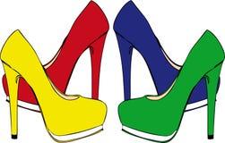 Hög-heeled skor Arkivfoto
