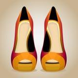 Hög-Heeled skor. Isolerad vektorillustration vektor illustrationer