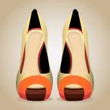 Hög-Heeled skor. Isolerad vektorillustration stock illustrationer