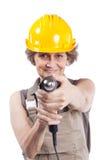 hög hjälpmedelkvinna för drill Arkivbild