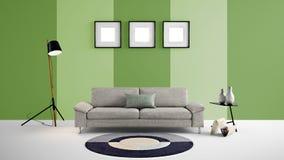 Hög illustration för upplösning 3d med gräsplan och ljus - väggbakgrund och möblemang för grön färg Arkivfoto