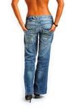 hög jeanskvinna för häl Arkivfoto