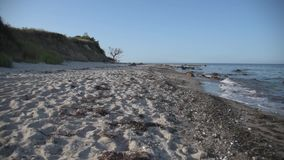 Hög kust och tom naturlig strand på det baltiska havet arkivfilmer