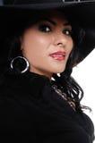 hög kvinna för modehatt Arkivbild