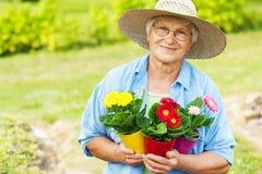 Hög kvinna i trädgård fotografering för bildbyråer
