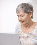 Hög kvinna som använder bärbar datordatoren Royaltyfria Foton