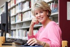 Hög kvinna som arbetar på datoren i arkiv Arkivfoton