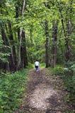 Hög kvinna som går ner en skogbana Arkivfoto