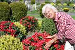 Hög kvinna som tycker om henne som är trädgårds- royaltyfri foto