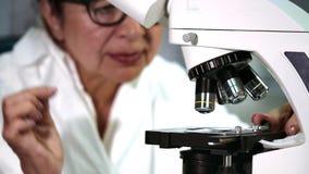 Hög kvinnlig forskare som arbetar på ett mikroskop på hennes labb stock video