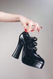 hög lädersko för häl Royaltyfri Fotografi