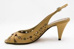hög ljus sko för brun häl Arkivbilder