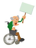 Hög man i en rullstol Fotografering för Bildbyråer