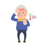 Hög man med feber som kontrollerar termometern stock illustrationer