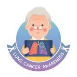 Hög man med Lung Cancer Awareness stock illustrationer