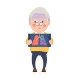 Hög man med Lung Cancer Problem vektor illustrationer