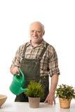 Hög man som bevattnar växter Royaltyfria Bilder