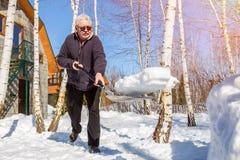 Hög man som kastar snö med skyffeln från privat husgård i vinter på ljus solig dag Äldre person som tar bort den insnöade trädgår arkivfoto