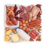 hög mat - protein Arkivfoto