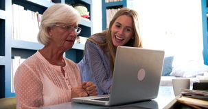 Hög moder för dotterportion med datoren i inrikesdepartementet stock video