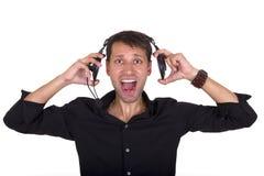 Hög musik på hörlurar Royaltyfri Fotografi