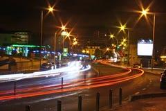 hög natthastighet för stad Arkivbild