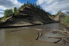 Hög och brant sandig flodbank royaltyfria foton