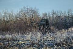 Hög plats för jägare i vinterskog Arkivfoto