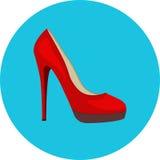 hög röd sko för häl Arkivbild
