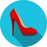 hög röd sko för häl Arkivfoto
