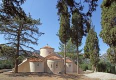 Hög-res drar tillbaka sikt av den Panagia Kera kyrkan nära Kritsa, Kreta, Gree Arkivbilder