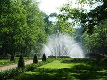 Hög rund frodig vit springbrunn i parkera av petergof arkivfoto