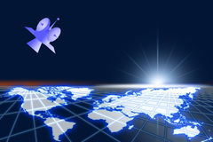 hög satellitavståndsvärld Arkivbild