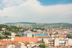 Hög sikt av den Cluj Napoca staden Arkivbild