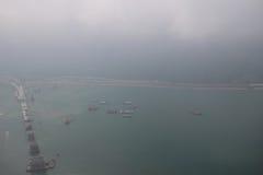 Hög sikt av Hong Kong Boundary Crossing Facilities Royaltyfria Bilder
