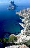 Hög sikt för Es Vedra och Atlantis Ibiza Arkivbilder